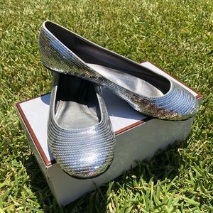 Coach Shimmer Silver Sequins Size 7.5 M Flats